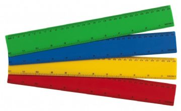 "12"" COLOURED RULERS [Pack of 12] SHATTER-RESISTANT PLASTIC 30cm RULERS MIXED"